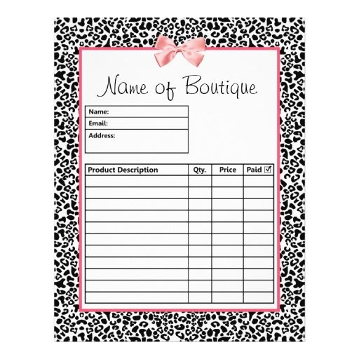 Trendy Black And White Leopard Print Order Forms Flyer | White