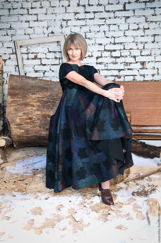 Купить Валяное платье Темная сторона Луны - черный, авторская ручная работа, одежда для женщин