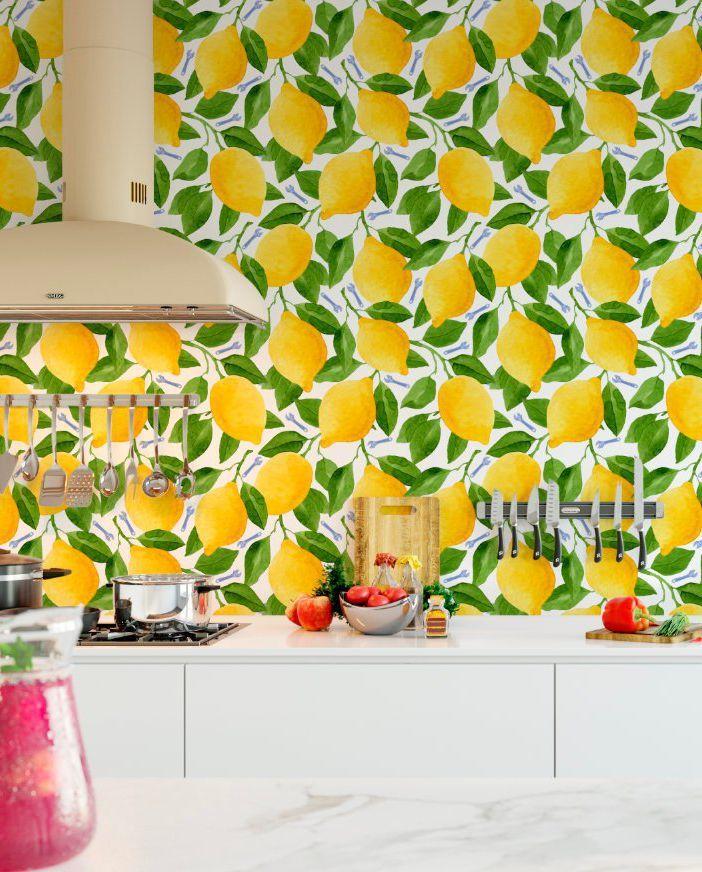 11 Insanely Fun Ways To Wallpaper Your Kitchen Kitchen Wallpaper Wall Art Diy Bedroom Kitchen Wallpaper Tiles