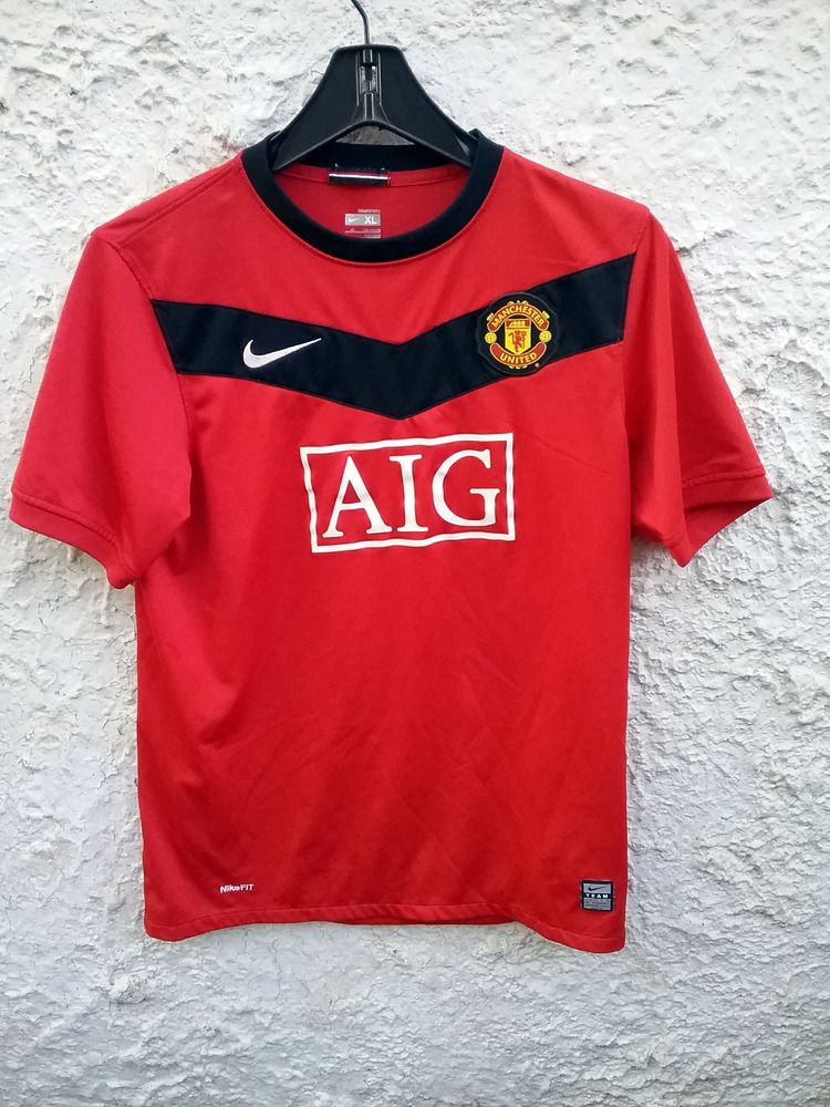 5a3863104ba Manchester United AIG Soccer Jersey Nike Dri Fit Youth XL NICE red  Nike   ManchesterUnited