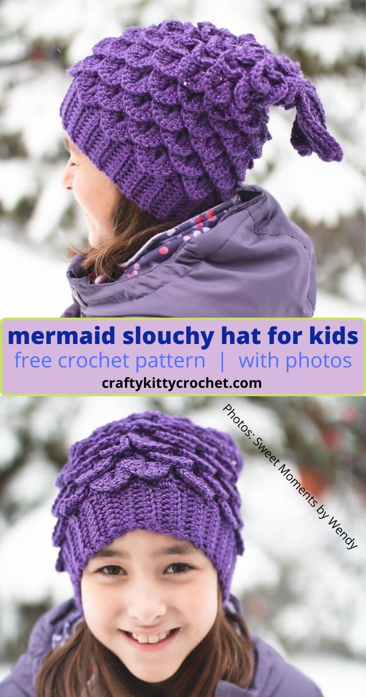 How to Crochet a Mermaid Slouchy Hat for Kids - FREE Pattern! #crochethatpatterns