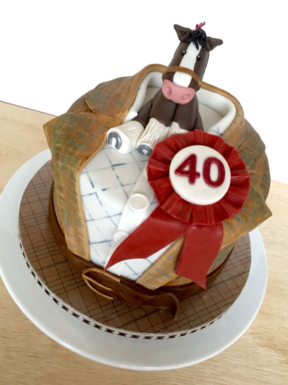 Shire Horse Tweed Suit Birthday Cake With Rosette Cakes By Bird
