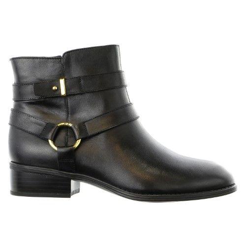 Lauren Ralph Lauren Women's Margo Boot, Black Burnished Calf, 6.5 B US