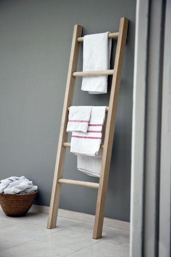 Nice Wooden Towel Ladder In Both Rustic As Well As In Modern Bathroom