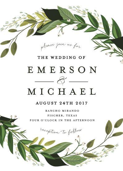 Wedding Invitations Vines Of Green By Susan Moyal