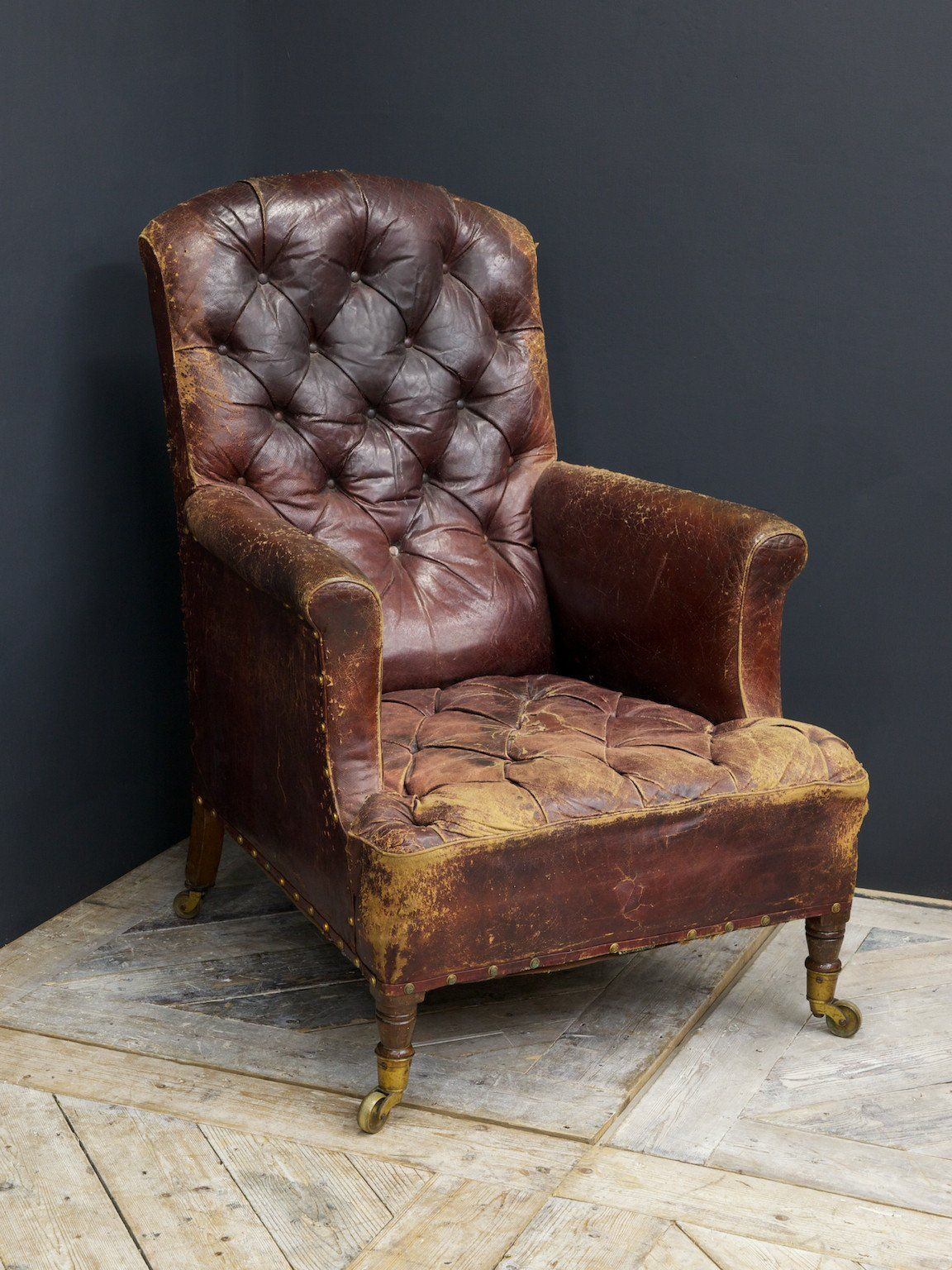 Delightful Beautifully Distressed Leather Armchair. English Circa 1860