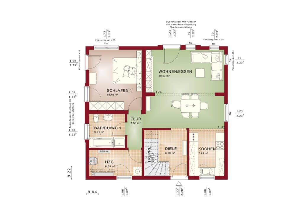 Einfamilienhaus Grundriss Erdgeschoss offen mit Treppe halbgewendelt - offene kuche wohnzimmer grundriss