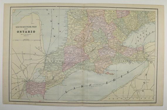 Southwest Ontario Map Canada Vintage Map 1888 Travel Map ...