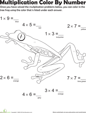 multiplication color by number tree frog 1 multiplication and multiplication worksheets. Black Bedroom Furniture Sets. Home Design Ideas
