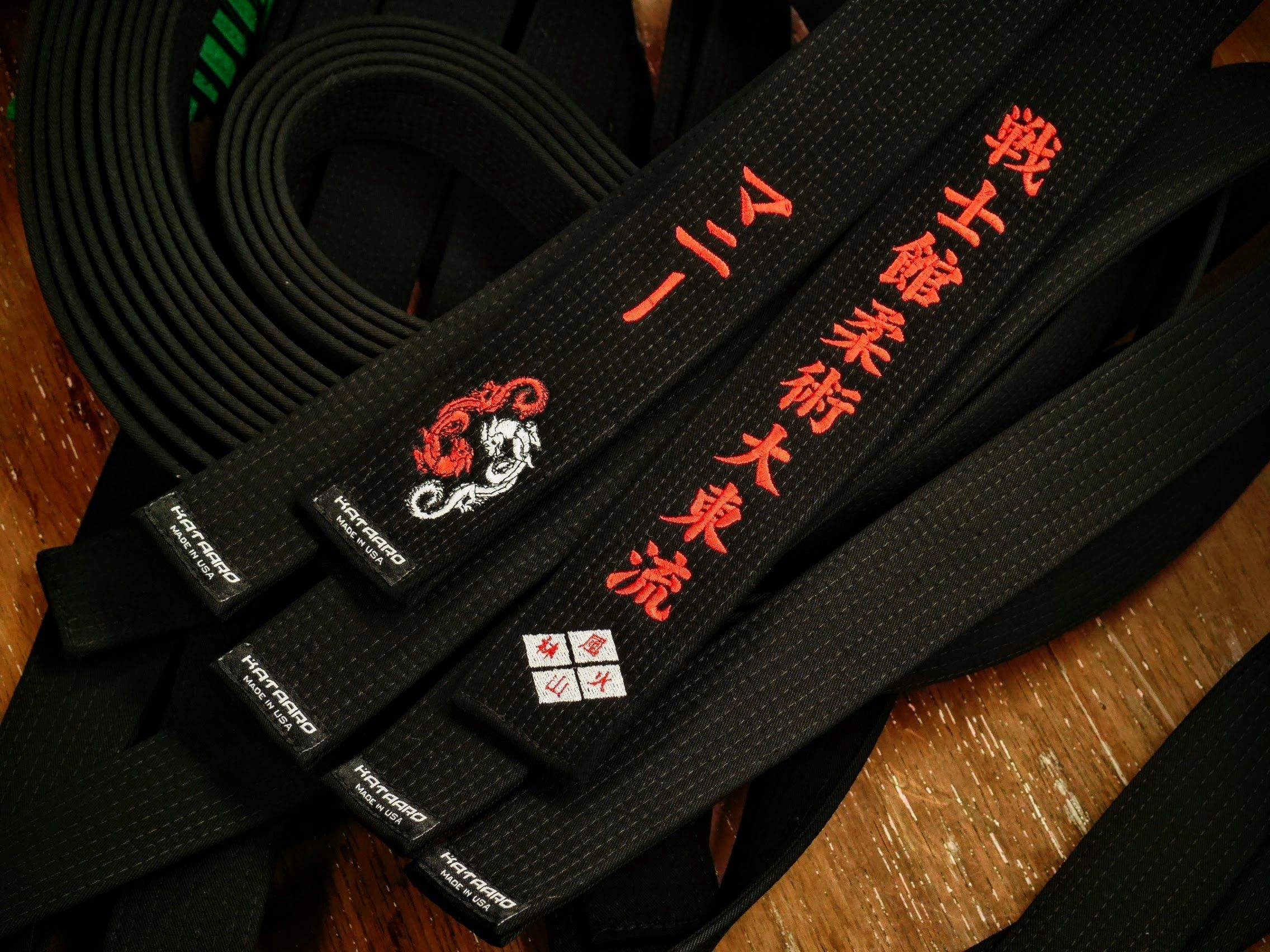 Embroidered Red Core Black Belt
