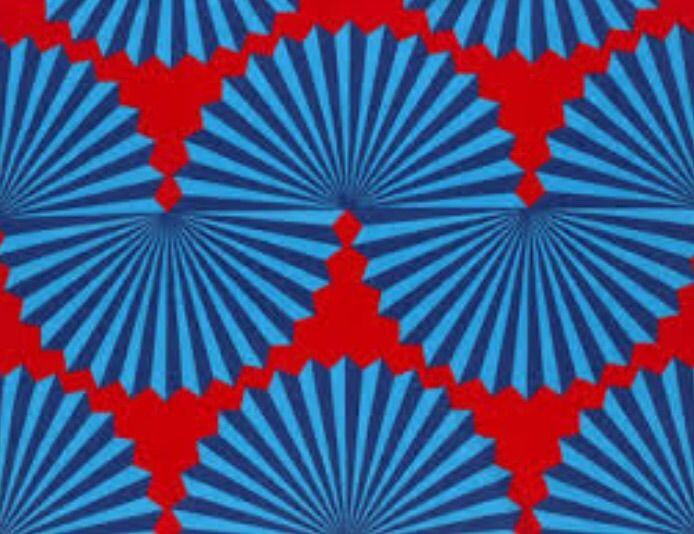 A bit of Escher at Marimekko. Buzzy blue and red.