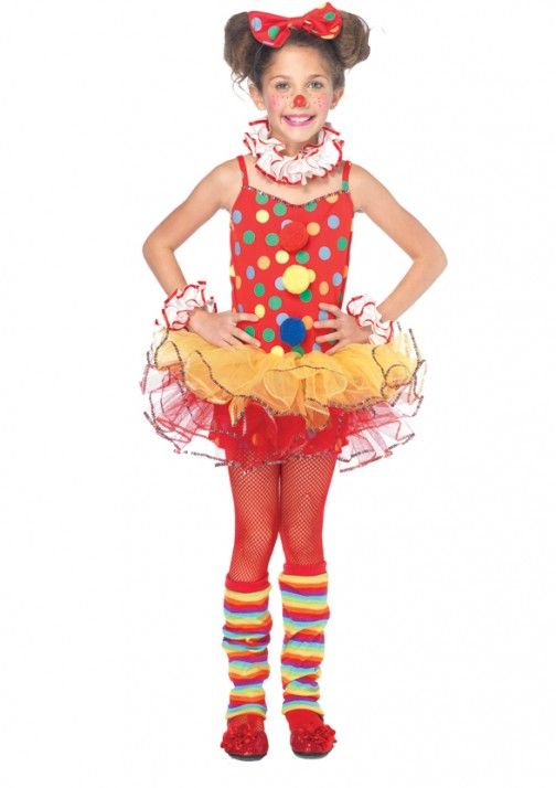 5pc Circus Clown, includes sequin trimmed polka dot tutu dress with pom pom accents, ruffle wrist cuffs and neck piece, leg warmers, and bow headband.  Size: XS, S, M Item: C48153 Price: $40.00