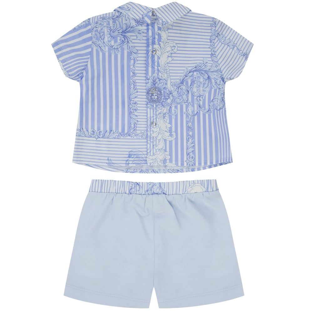 850a7c7080b Young Versace Baby Boys Blue   White Striped and Baroque Print Shirt and  Shorts Set
