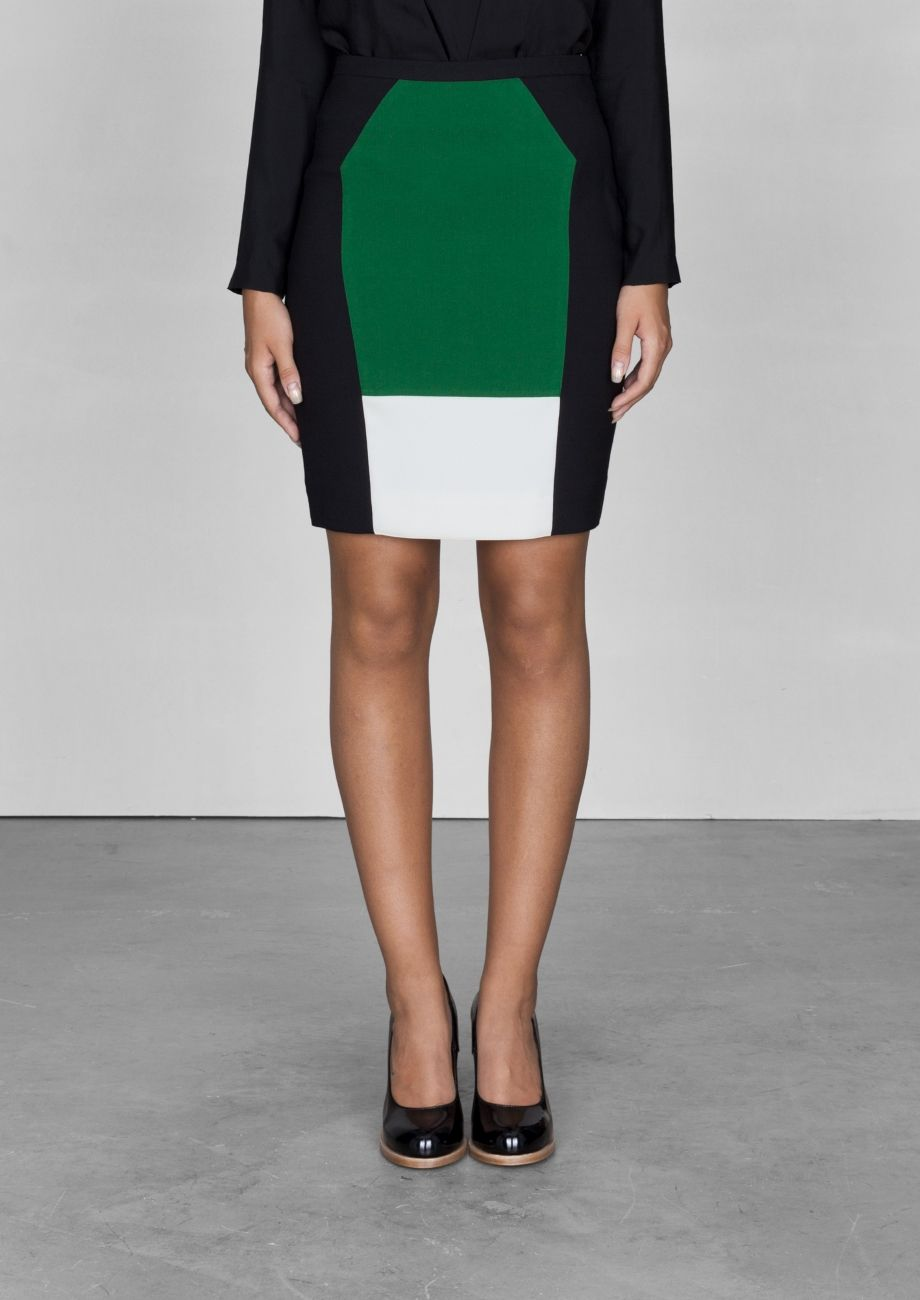 Colour block pencil skirt | White | & other stories, Other and Skirts
