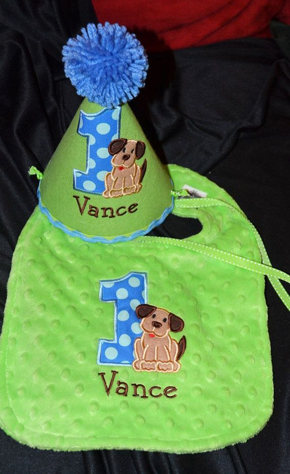 Puppy Dog 1st Birthday Birthday Party Hat and Bib set With Hand made