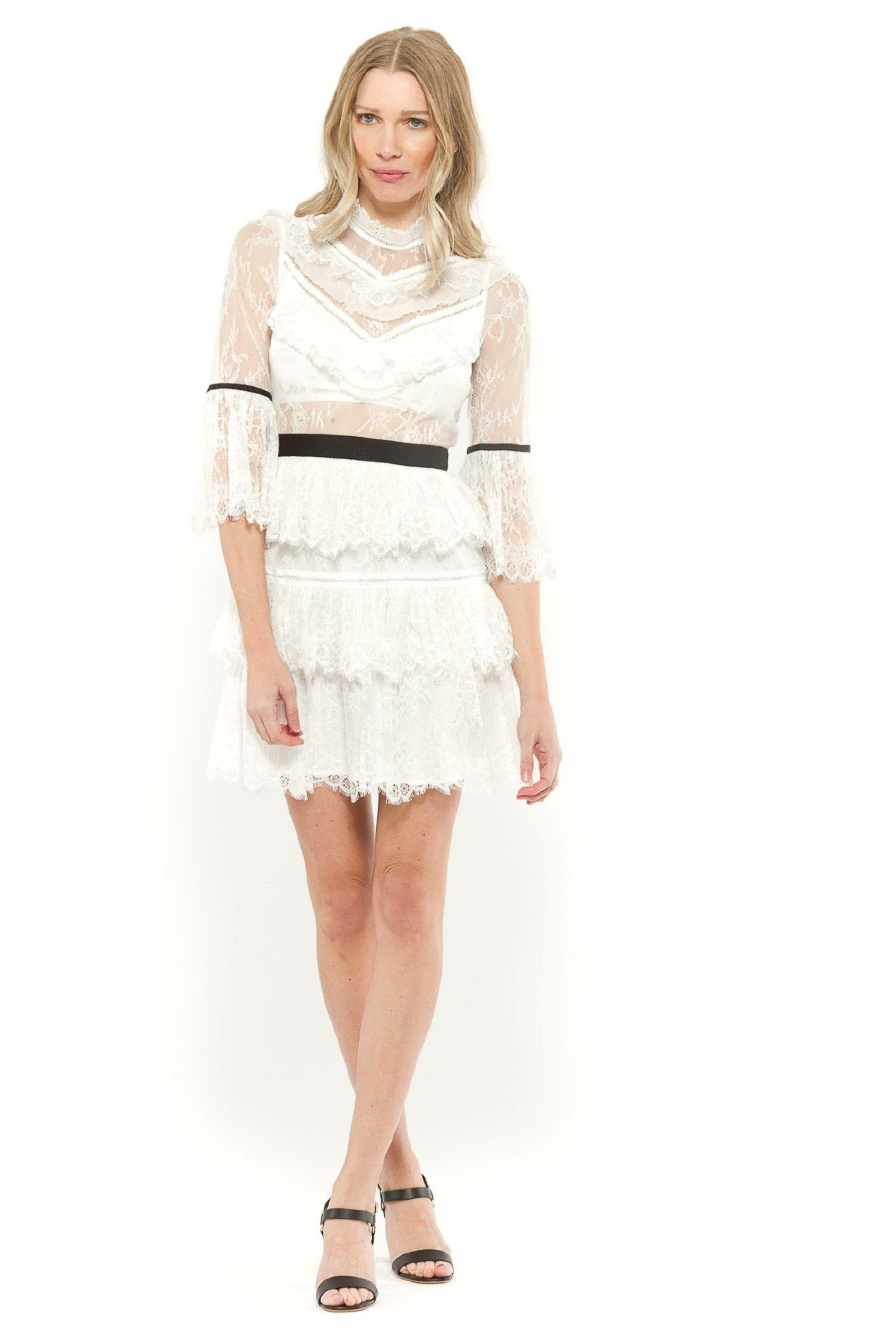 57f4ae44d8698 SELF-PORTRAIT FINE LACE MINI DRESS | Dresses | Lace, Dresses, Mini