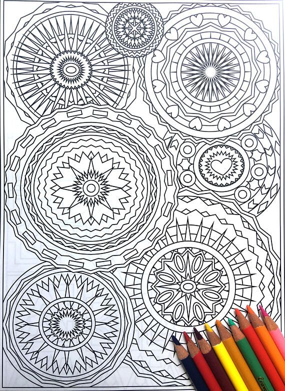 Meeting of Circles,Adult Coloring Page, Intricate Design,Geometric Repeating Patterns, Symmetric ...