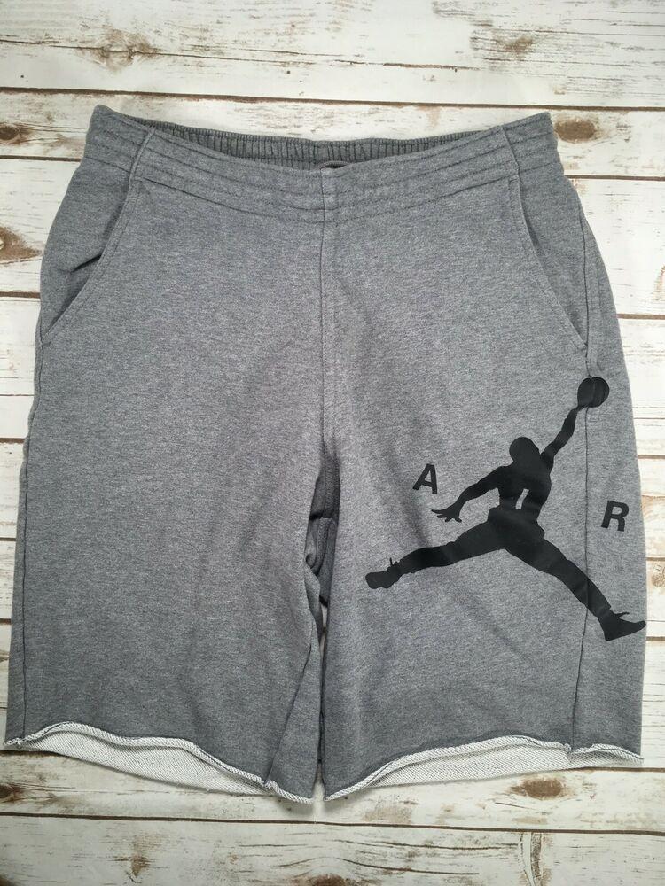 446d04262b31c0 Mens Jordan 11 Legacy Cotton Shorts Grey Heather Black Basketball  Sweatshorts L  Jordang  ActivewearShorts