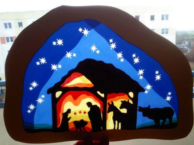 Waldorf Grosses Fensterbild Krippe Basteln Weihnachten Fensterbilder Weihnachten Krippenbilder