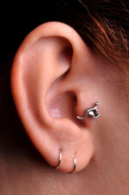 Kangaroo Tragus Cartilage Stud Ring Sterling Silver