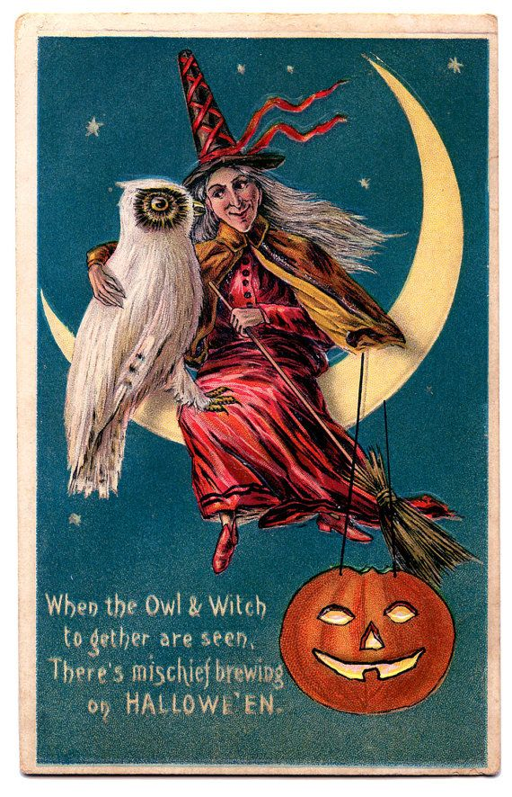 Vintage Image of a Halloween Witch and her Owl with A Halloween Message. $4.80, via Etsy.
