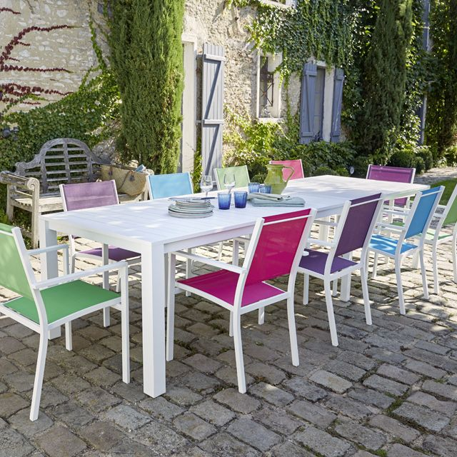 table de jardin en aluminium batang 205 335 x 101 cm blanc terrasses balcons pinterest. Black Bedroom Furniture Sets. Home Design Ideas
