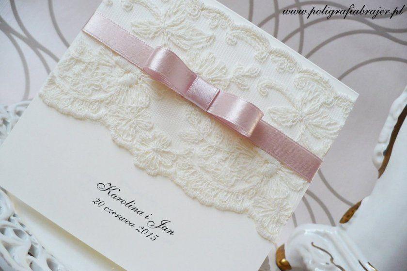 Zaproszenia Slubne Koronkowe Wedding Invitation Stationary Bridal Gifts Wedding Stationery