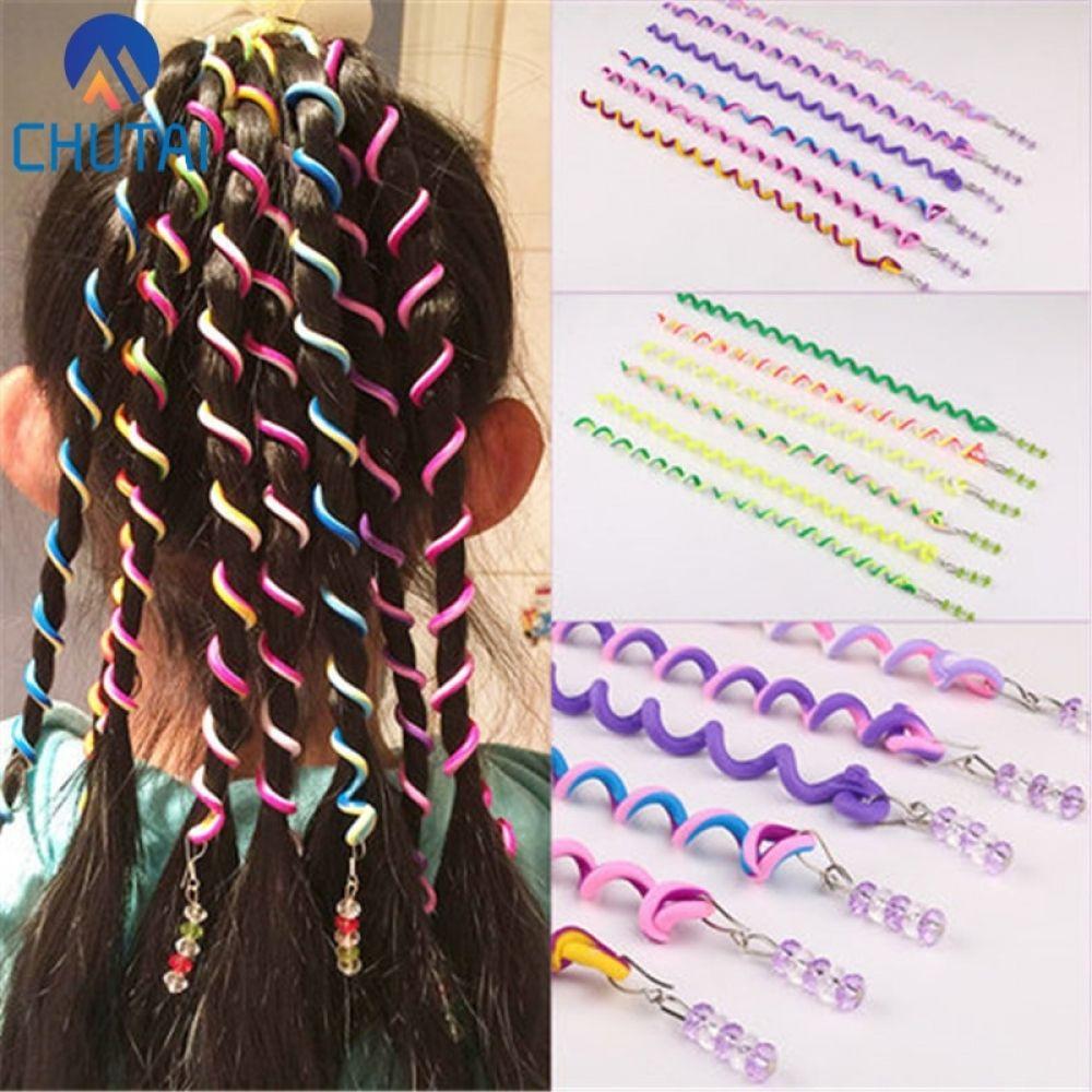 6 Pcs/Set Diy Magic Tricks Creative Interaction Hair Editor Manual Self-Edited Hair Curler Children Spiral Color Hair Wand Toysforsale - Hair Beauty