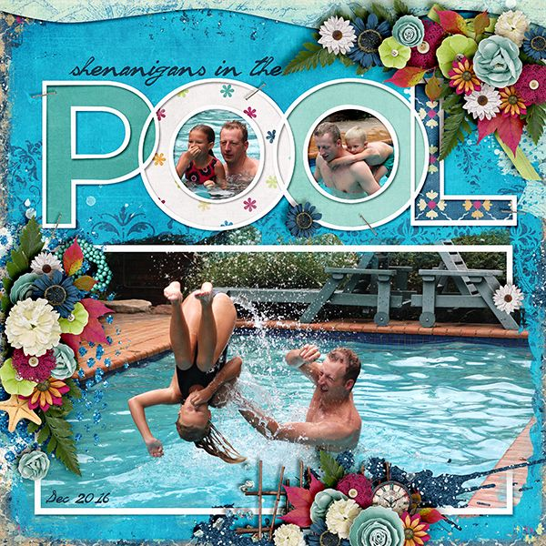 Pool Shenanigans Summer scrapbook
