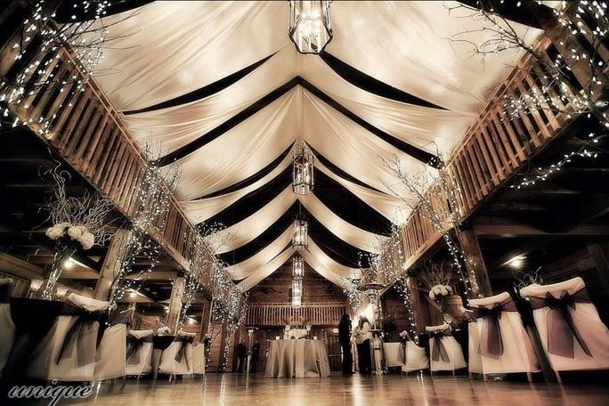 Formal Barn Party overhead fabric drapes