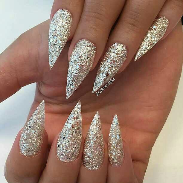 Sparkly glitter stiletto nails, nail art idea | ideas de unas ...