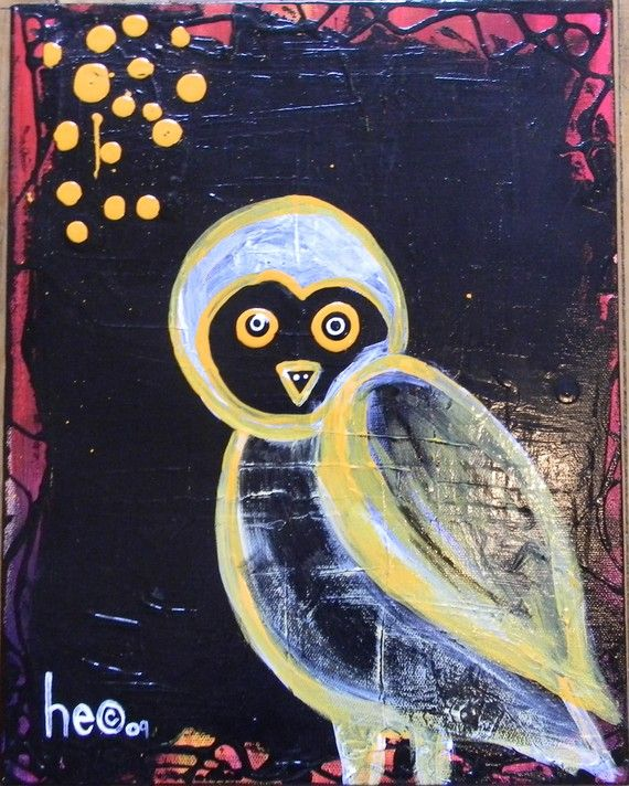 Snow Owl  Abstract Acrylic Painting  11x14 by HECart on Etsy, $65.00