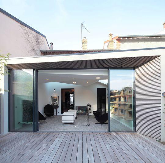 Extension 23m2 maison bois, agrandissement maison en meulière - maison contemporaine plan gratuit