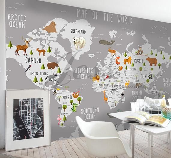 3d Nursery Kids Room Animal World Map Removable Wallpaper Etsy Kids Room Murals Kids Room Wallpaper Kids Wall Decals