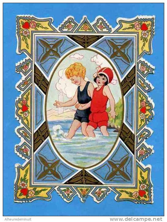 """Carte Ancienne Gaufrée""""enfants Mains Dans La Main""""coeur""""TO MY VALENTINE""""boat""""bain De Mer""""whitney""""worcester Mass""""U.S.A"""" - Fêtes - Voeux"""