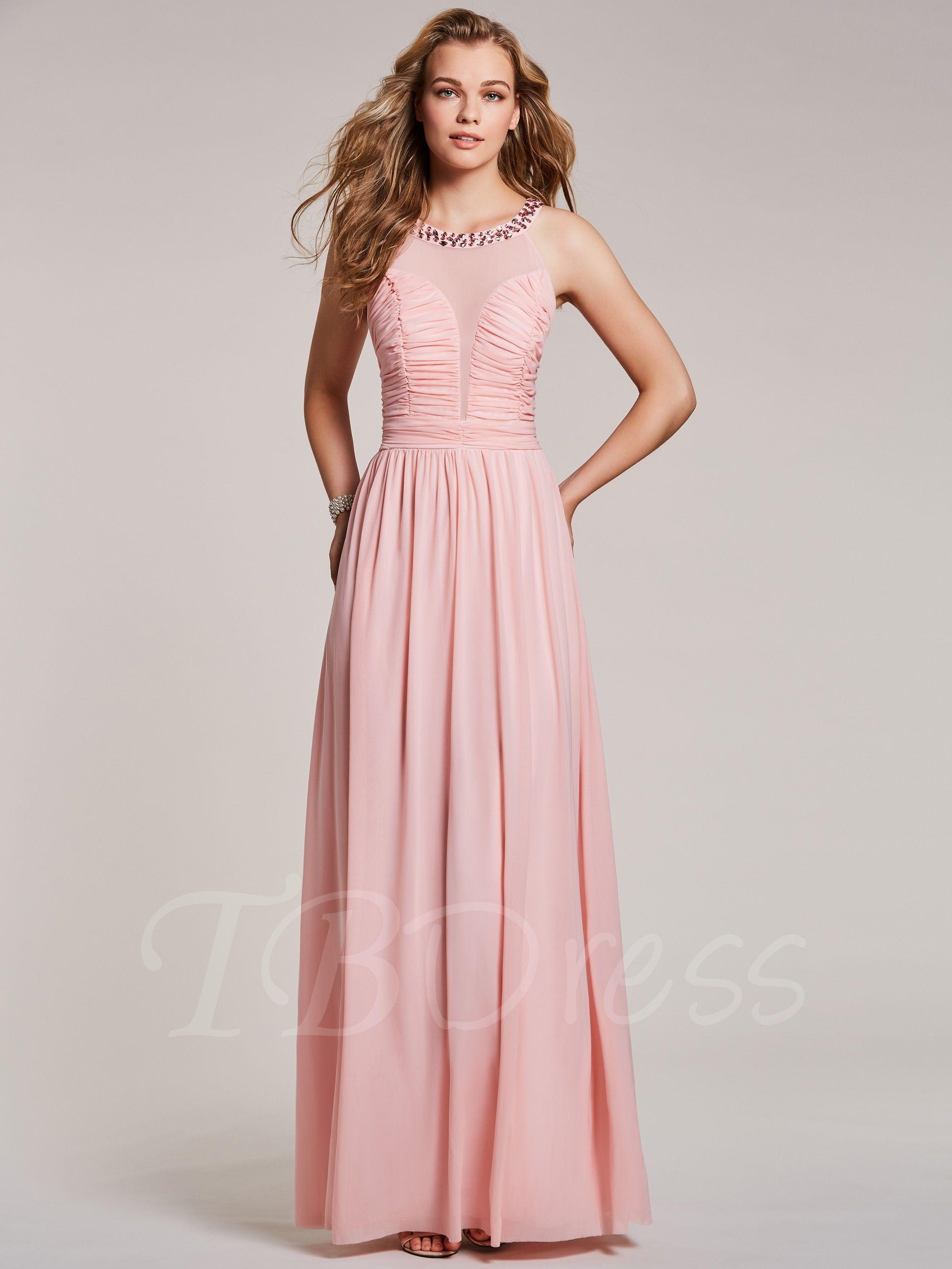Tbdress.com A Line Scoop Neck Beaded Pleats Prom Dress $ 39.99 ...