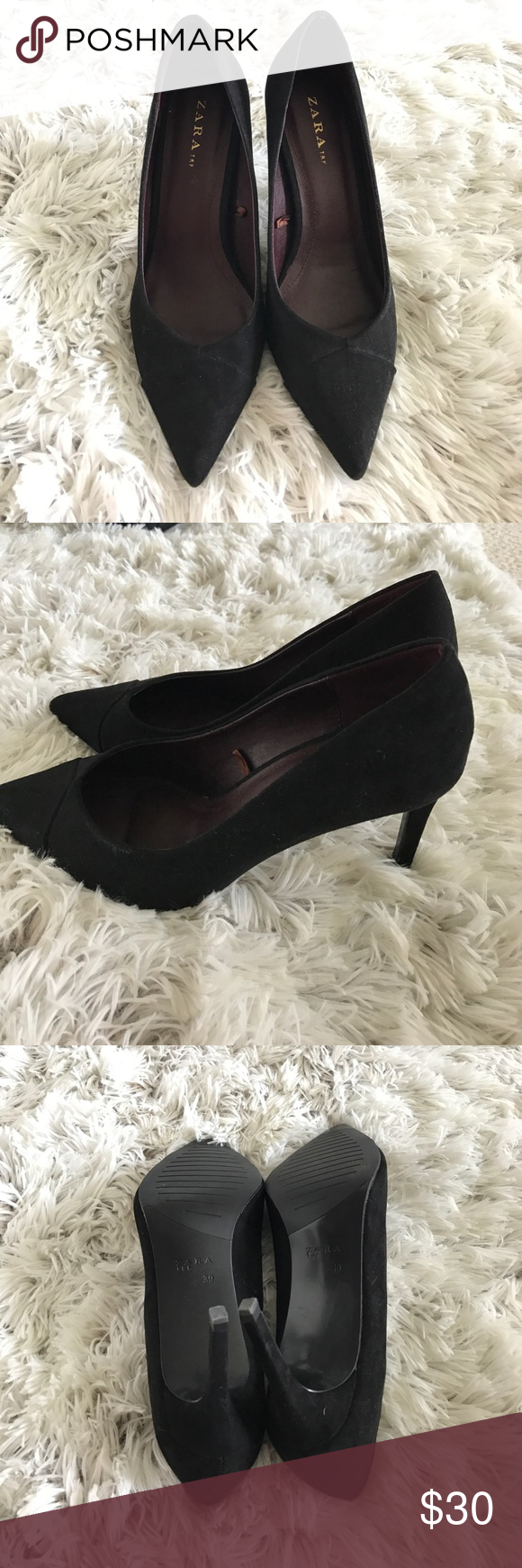 Zara Suede pump size 39 Used once, like brand new Zara suede black pump. Zara Shoes Heels