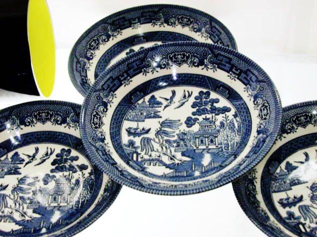 Vintage English Blue Willow China Bowl Set By Churchill Four Pieces Blue Willow China Blue Willow China Bowl
