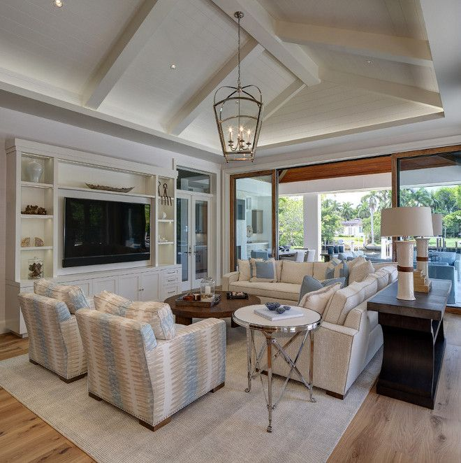 Vaulted shiplap ceiling Transitional coastal living room with