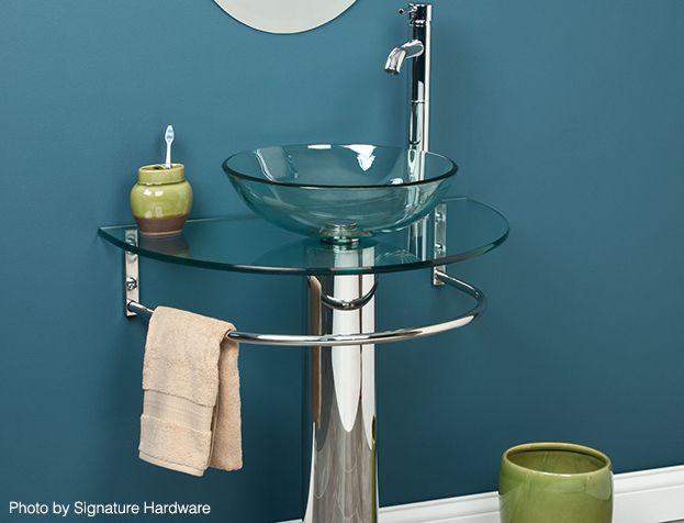 Small Bath Storage Pedestal Sink Towel Bar