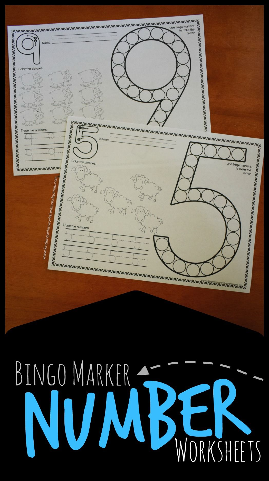 Farm Kindergarten Number Worksheets With Bingo Markers