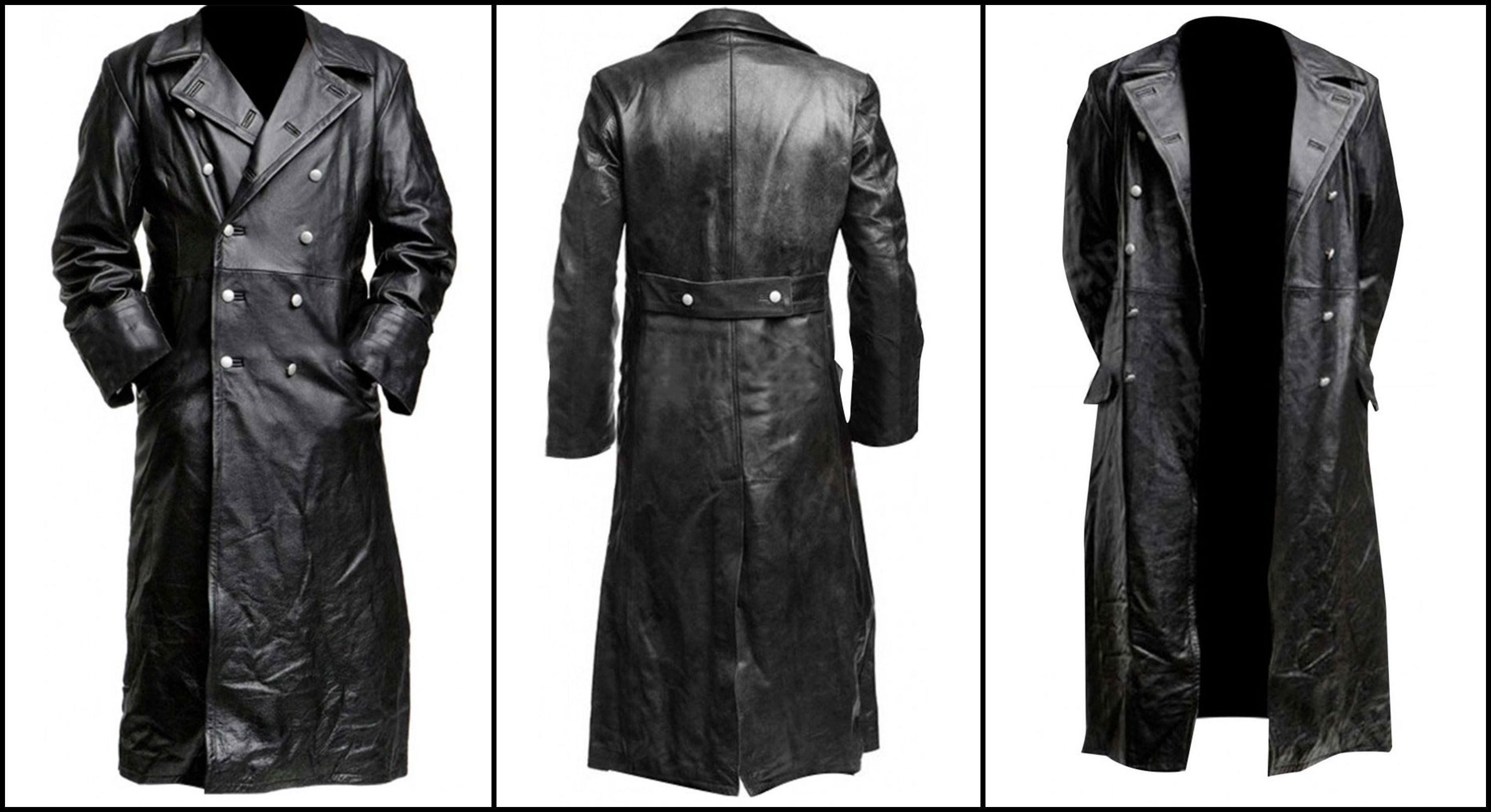 New Mens Brown German Army Officer Dr Who Uboat Real Cowhide Leather Jacket Coat