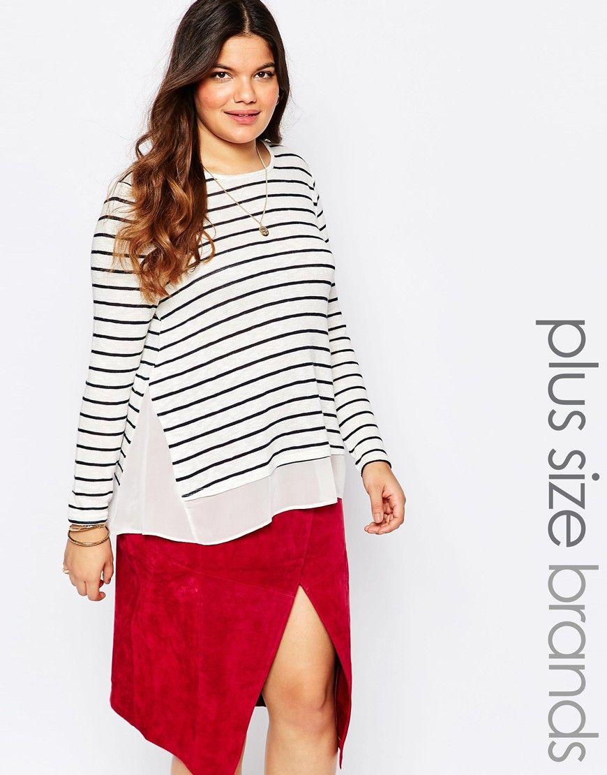 New look inspire stripe chiffon hem jumper my mostly plussized