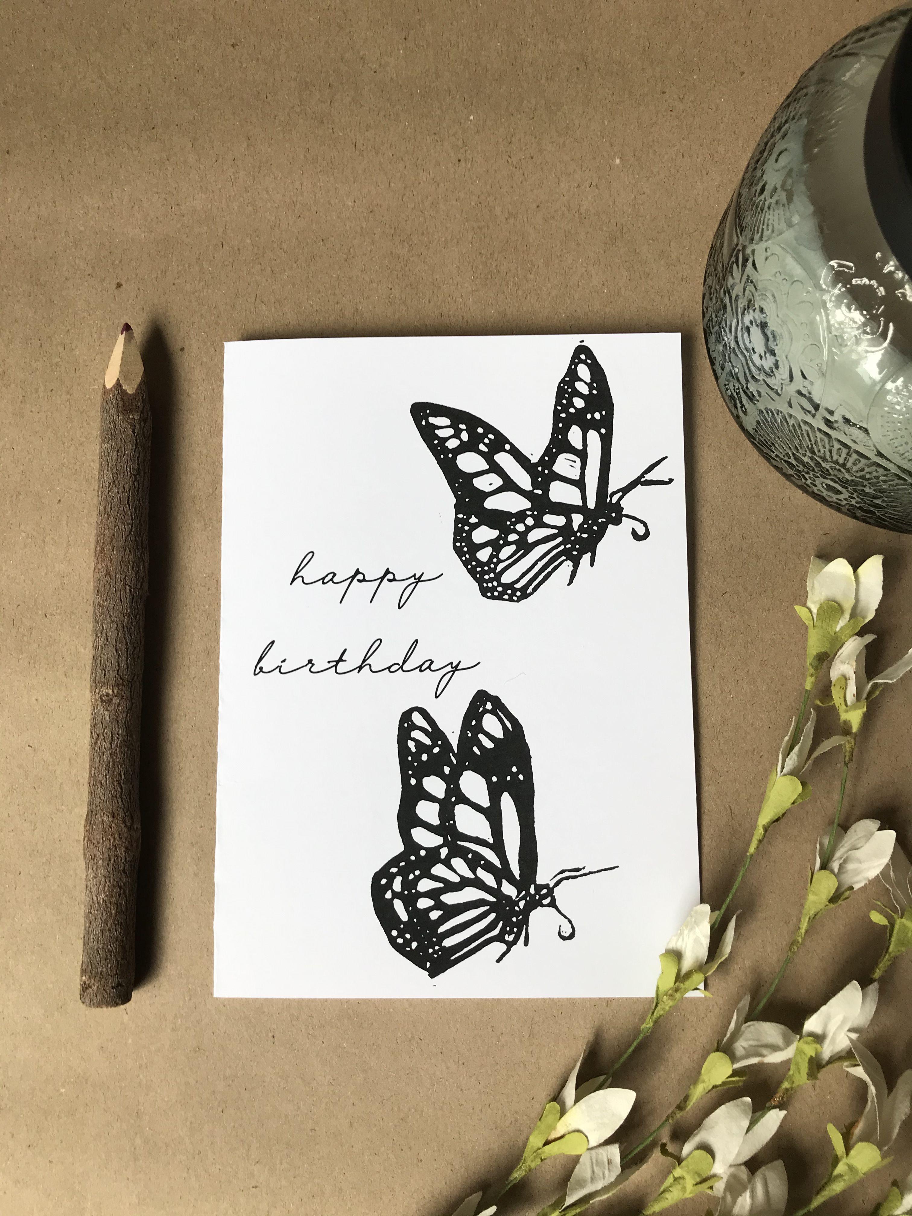 Printable Monarch Butterfly Birthday Card Lino Print Black Etsy Butterfly Birthday Cards Birthday Card Printable Butterfly Birthday