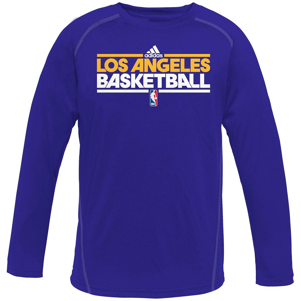 48fca8d2ef3 adidas Los Angeles Lakers Youth (Sizes 8-20) ClimaLite On-Court Long Sleeve  T-Shirt - NBAStore.com