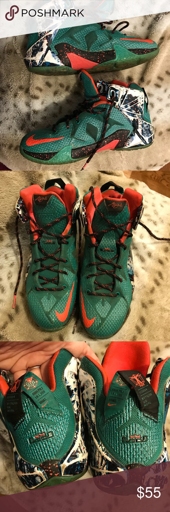 "Nike LeBron 12 Christmas sneakers ""Akron Birch"" | My Posh Closet ..."