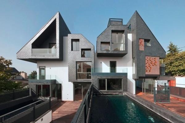 Asymmetrical Semi Detached House By Studio 17 Architects Nodo Chief Architect Manuel Perez Romero Facade Design Architecture House Architecture