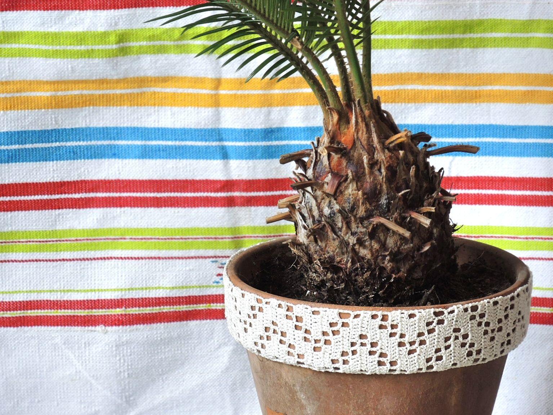 Moois van ' M(i)e': diy gehaakt bloempotrandje/ crocheted flower pot edge