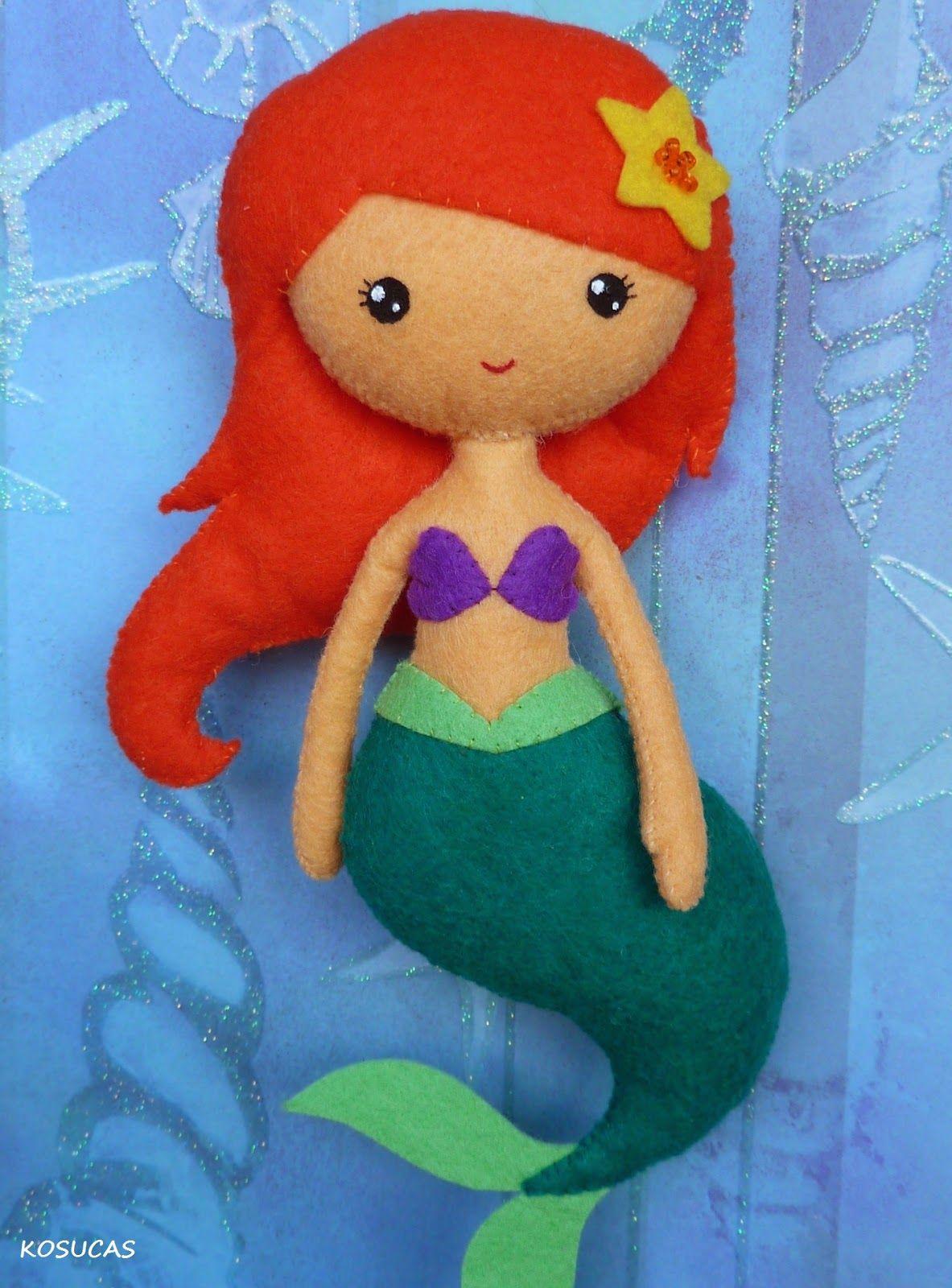 Hola a todas, yo sigo preparando mis propios diseños de princesas disney, en este caso le ha tocado a La Sirenita y a la mala de la peli, Ursula.   Tenéis el patrón y el tutorial para hacerlas en mi t