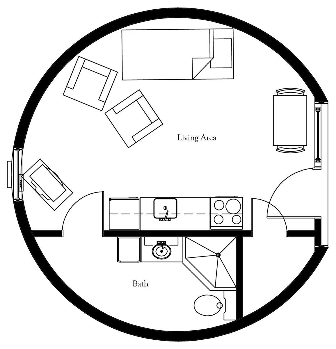 Plan Number: DL2001 Floor Area: 314 Square Feet Diameter
